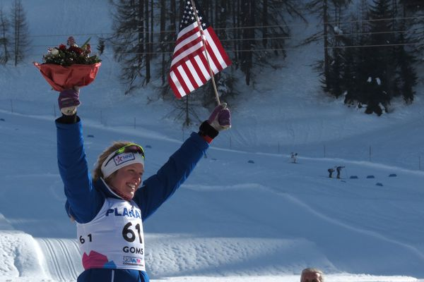 Hailey Swirbul of UAA makes history by skiing to a silver medal Tuesday, Jan. 30, 2018 at the World Junior Championships for cross-country skiing in Goms, Switzerland. The silver is the best individual result by an American in the history of the World Juniors. (Photo by Gunnar Knapp)