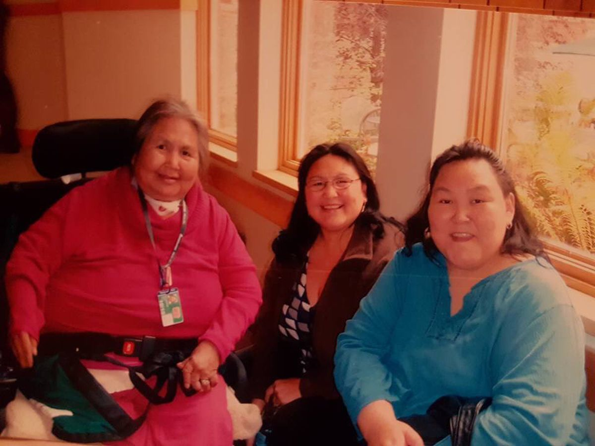 The author's grandmother, or aaka, Eva, mother and and Aunt Ronnie visiting at Alaska Native Medical Center in an undated photo. (Courtesy Cordelia Kellie)