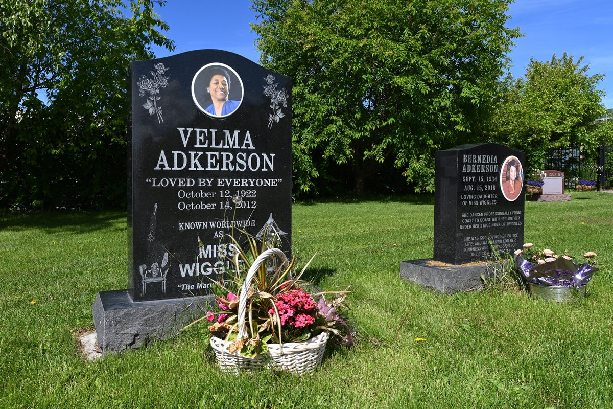 Velma Adkerson, a performer who went by the stage name 'Miss Wiggles' rests next to her daughter Bernedia Adkerson who was known as 'Twiggles' at Anchorage Memorial Park Cemetery on Sunday, June 21, 2020. (Bill Roth / ADN)