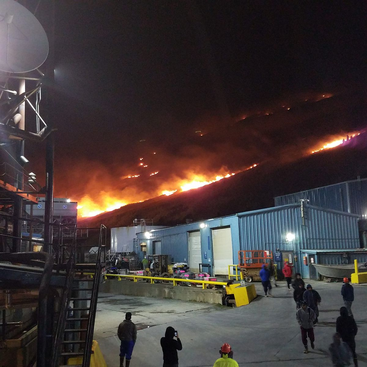 A fire near the Trident Seafoods plant in Akutan burned up the hillside on Sunday, Feb. 18, 2018. (Photo by Bill Newberry)
