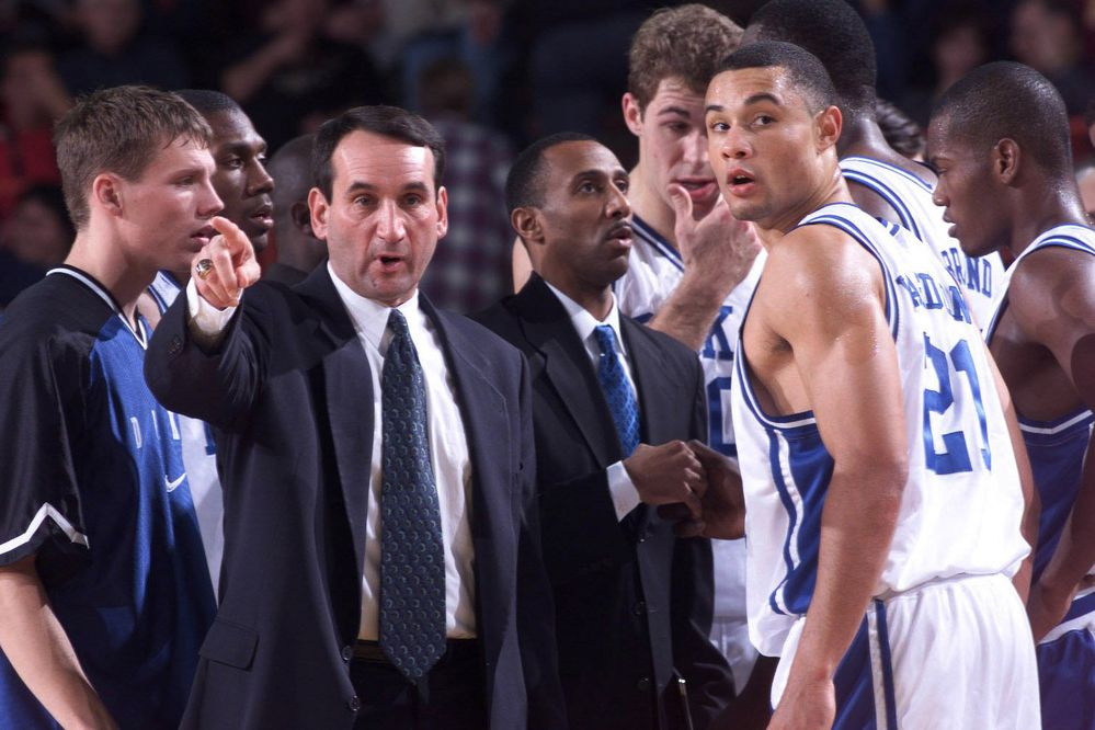 Anchorage native Trajan Langdon of Duke gets instructions from coach Mike Krzyzewski during the championship game of the 1998 Great Alaska Shootout. (Jim Lavrakas / ADN archive 1998)