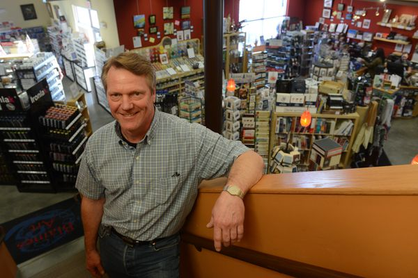 The owner of Blaines Art, Dave Haag, poses for a photograph in the west Anchorage, Alaska store on Saturday, Nov. 18, 2017. (Bob Hallinen / ADN)