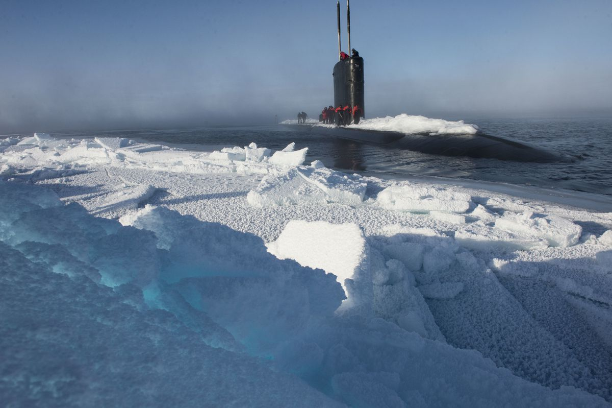 Los Angeles-class submarine USS Hartford surfaces near Ice Camp Sargo during Ice Exercise (ICEX) 2016. ICEX 2016 was a five-week exercise designed to research, test, and evaluate operational capabilities in the region. ICEX 2016 allows the U.S. Navy to assess operational readiness in the Arctic, increase experience in the region, advance understanding of the Arctic environment, and develop partnerships and collaborative efforts. (U.S. Navy photo by Mass Communication Specialist 2nd Class Tyler Thompson)