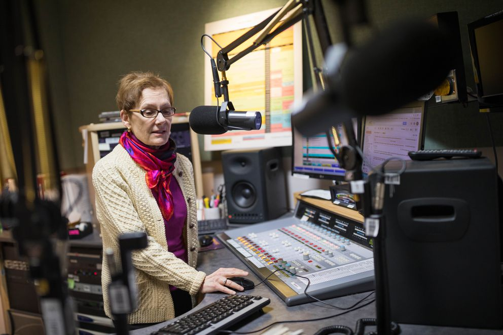 KSKA FM Program Director Bede Trantina in the control room Tuesday, Nov. 7, 2017. Trantina started working at the public radio station in 1979 as a volunteer, and plans to retire next year after 39 years in the studio. (Loren Holmes / Alaska Dispatch News)