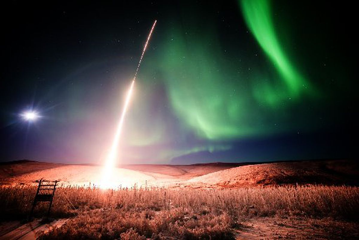 A rocket is launched from the Poker Flat Research Range 30 miles north of Fairbanks on Jan. 27, 2015. The range, part of the University of Alaska Fairbanks Geophysical Institute, has been key to NASA studies of the northern lights. (JASON AHMS / UAF Geophysical Institute)