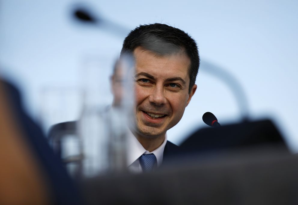 Democratic presidential candidate former South Bend, Ind., Mayor Pete Buttigieg speaks at a roundtable event with Nevada environmental activists and Native American leaders, Friday, Feb. 21, 2020, in Las Vegas. (AP Photo/John Locher)