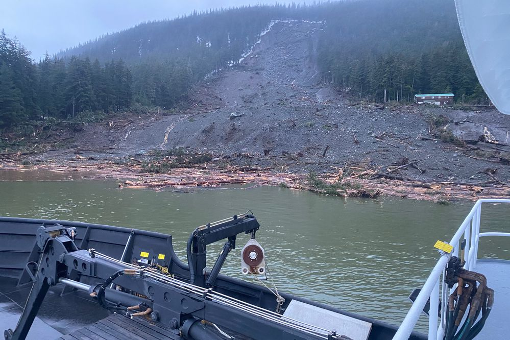 Alaska State Troopers released images taken on December 3, 2020, of the damage caused by a landslide in Haines. Alaska State and Wildlife Troopers are participating in search and rescue efforts along with the US Coast Guard, Alaska National Guard, National Weather Service, Capital City Fire/Rescue, Juneau Mountain Rescue, SEADOGS, Haines Volunteer Fire Department, and Haines Borough Police Department. (Alaska State Troopers)