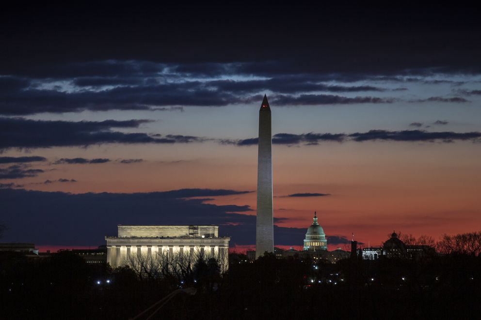 The Washington skyline is seen on day 19 of a partial government shutdown on the morning after President Donald Trump used a prime-time TV address from the Oval Office to urge congressional Democrats to relent on their opposition to his proposed U.S.-Mexico border wall, Wednesday, Jan. 9, 2019. From left are the Lincoln Memorial, the Washingtonton Monument, and the U.S. Capitol. (AP Photo/J. Scott Applewhite)