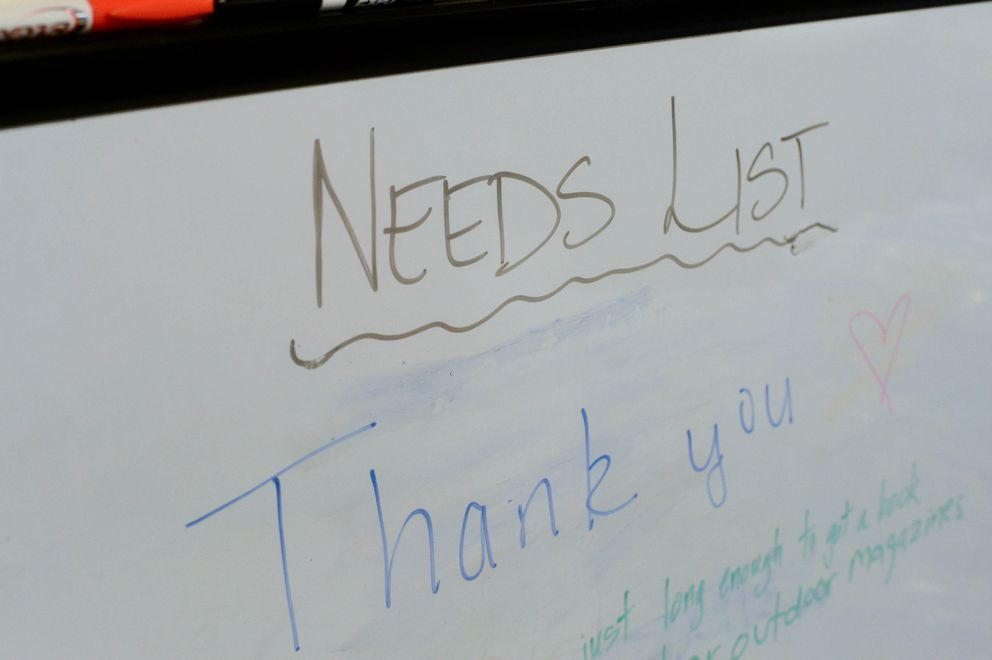 After a surge of donations from Haines residents and others in Southeast Alaska, the only thing listed on the needs list Friday, Dec. 4, 2020 at the evacuation center was a message of thanks. (James Brooks / ADN)