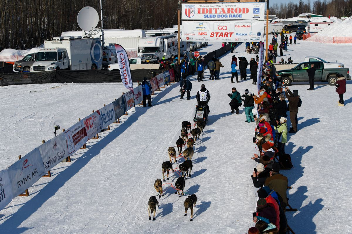 With Iditarod Trail Sled Dog Race spectators told to stay home because of COVID-19, Pete Kaiser of Bethel didn't have much of an audience as he left the Deshka Landing start line on March 7. Kaiser was one of the top contenders who ultimately scratched in this year's race. (Marc Lester / ADN)