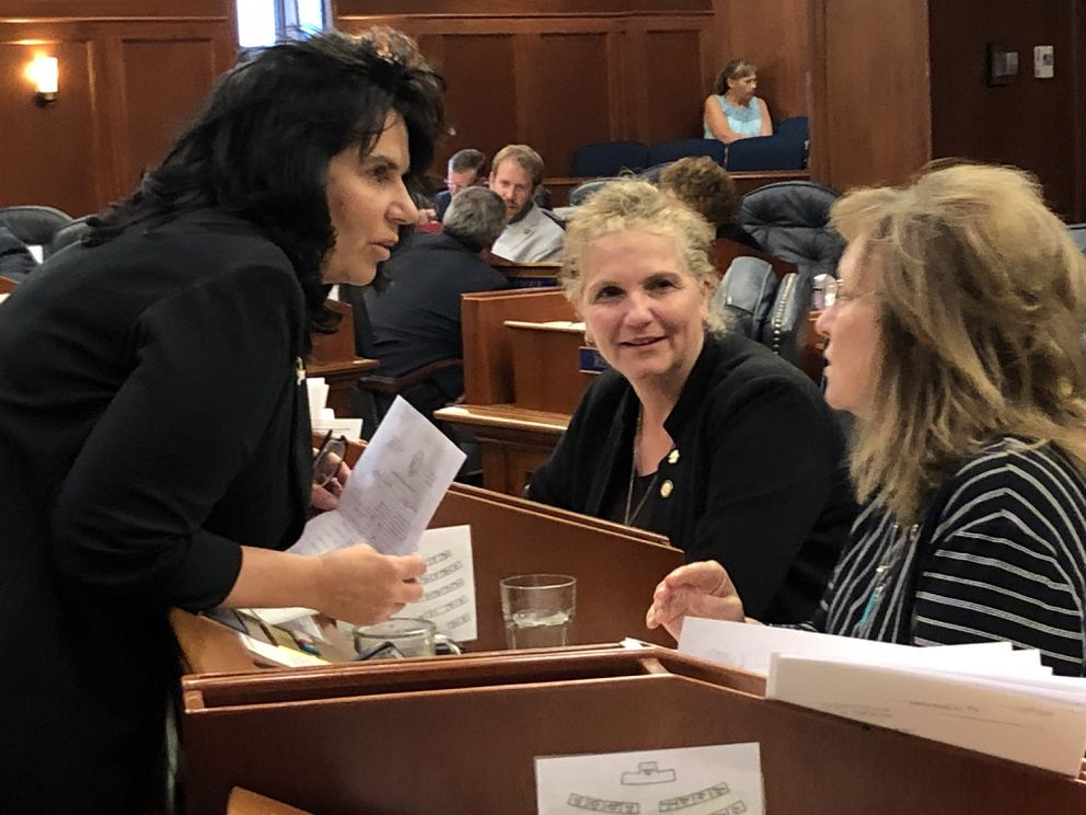 From left to right, Reps. Cathy Tilton, R-Wasilla; DeLena Johnson, R-Palmer; and Colleen Sullivan-Leonard, R-Wasilla, discuss an amendment to House Bill 2001 on Wednesday afternoon, July 24, 2019. (James Brooks / ADN)