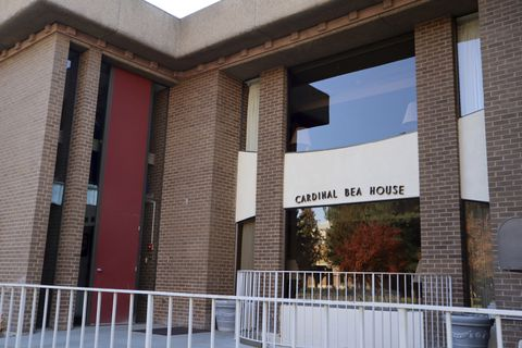 This Oct. 22, 2018 photo shows the Cardinal Bea House on the campus of Gonzaga University in Spokane, Wash. Cardinal Bea House played host to at least 20 Jesuit priests accused of sexual abuse. (Emily Swing/Reveal via AP)