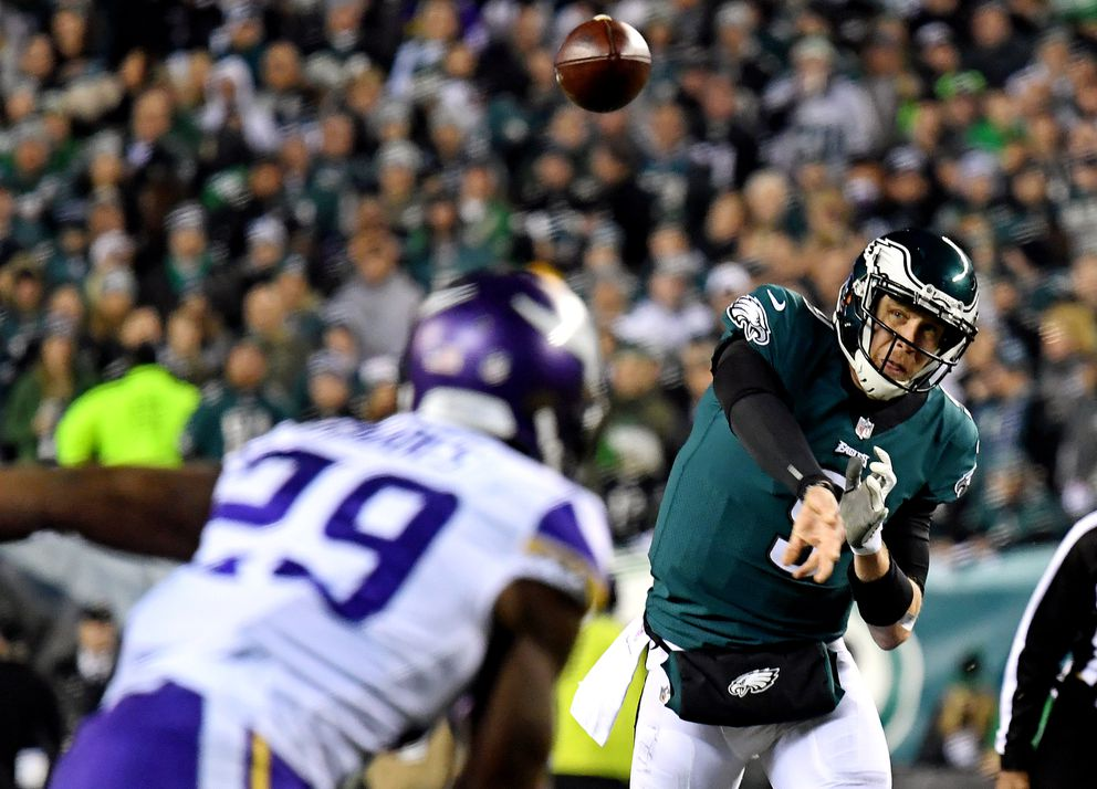 Philadelphia Eagles quarterback Nick Foles (9) throws a pass during the second quarter against the Minnesota Vikings in the NFC Championship game at Lincoln Financial Field on Jan. 21, 2018. (James Lang / USA TODAY Sports)