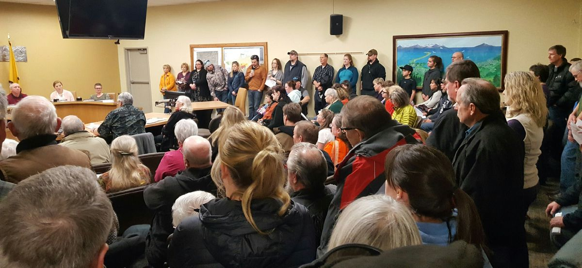 Dozens of residents turned out to provide public testimony at the Homer City Council meeting Monday. (Shahla Farzan / KBBI)