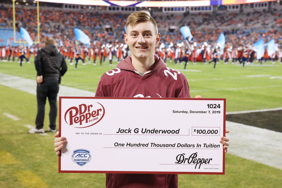 Anchorage's Jack Underwood won $100,000 during a halftime promotion at the ACC championship game Saturday. (Courtesy Dr Pepper)