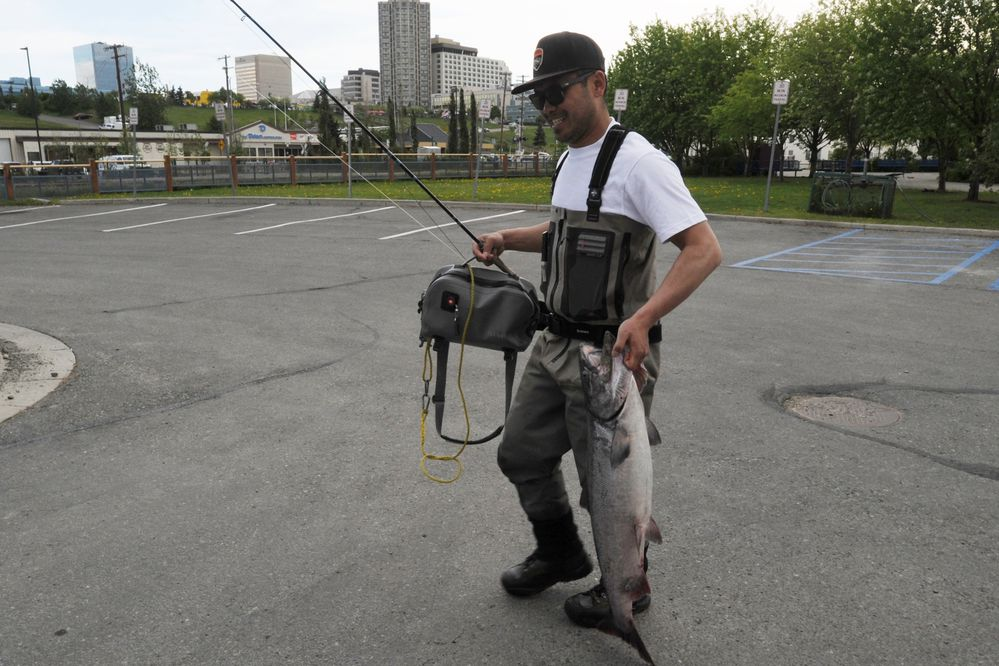 Eddie Ngeunhahak carries a 21.85 pound king salmon that put him in second place (at the time) that he caught at Ship Creek on Sunday, June 10, 2018, during the Slam'n Salm'n Festival. The eight day derby which benefits the Downtown Soup Kitchen Hope Center ends this year at noon on Saturday. Ngeunhahak said he was