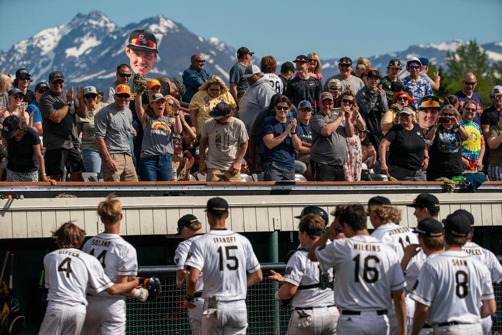 South High fans cheer after Maddux Soland's home run. (Loren Holmes / ADN)
