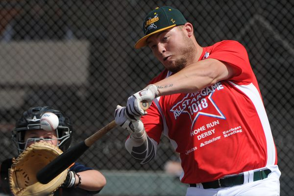 Mat-Su Miners first baseman Spencer Henson of Oral Roberts shown competing in the Alaska Baseball League Home Run Derby on Sunday, July 15, 2018, leads the the ABL in home runs and RBI's. (Bill Roth / ADN)