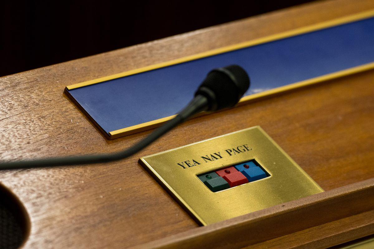 Voting buttons on the Senate floor. (Loren Holmes / ADN archive 2015)