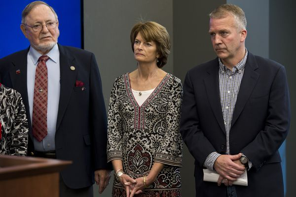Rep. Don Young, Sen. Lisa Murkowski and Sen. Dan Sullivan in Anchorage on May 30, 2017, during a press with for Interior Sec. Ryan Zinke.(Marc Lester / Alaska Dispatch News)