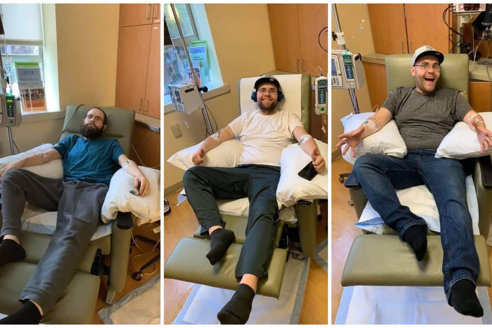 Josh McCool, a 28-year-old cancer patient from Wasilla, is the first person with his form of cancer ever to receive a new kind of radiation treatment called peptide receptor radionuclide therapy. He said he's made huge progress over his last three treatments, pictured in order from left to right. (Photo by Shannon Mitchell)
