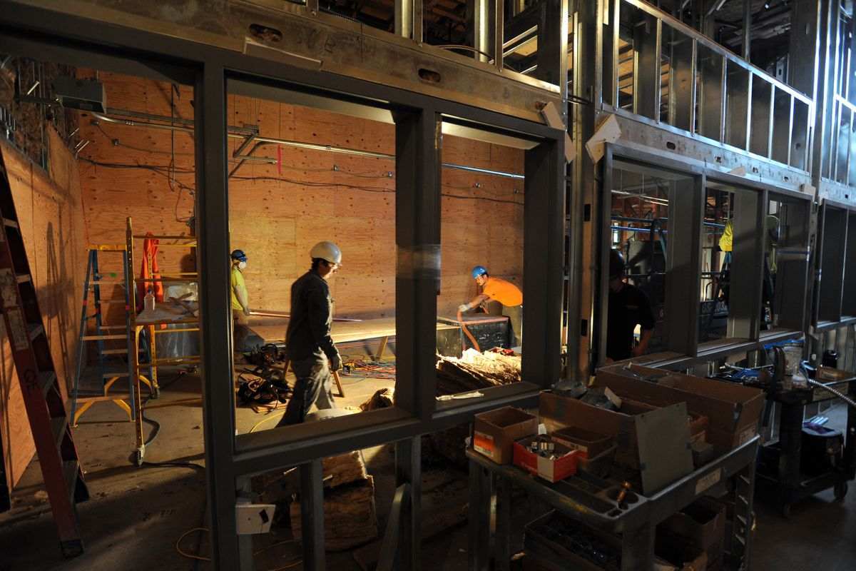 A technology room takes shape as work continues on the two-year Turnagain Elementary School renewal project on the first day of school, Monday morning, August 22, 2016, in west Anchorage. (Erik Hill / ADN)
