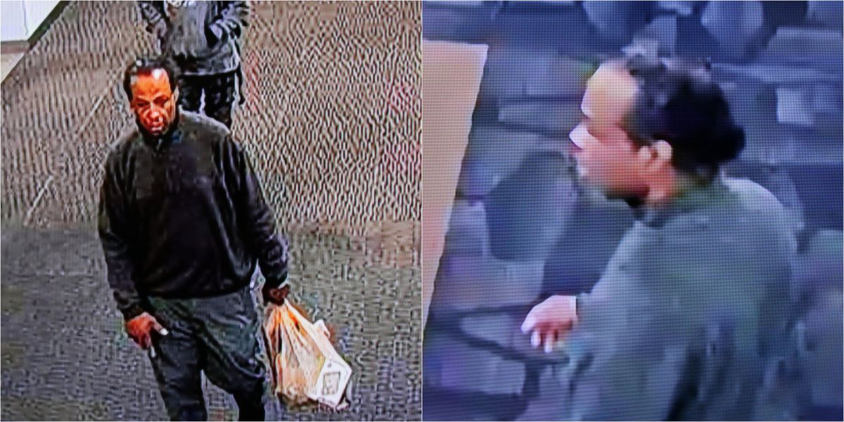 Anchorage police released these photos of a man they say is a suspect in serious vandalism on Saturday, Sept. 7, 2019, at Loussac Library. (Courtesy Anchorage Police Department)