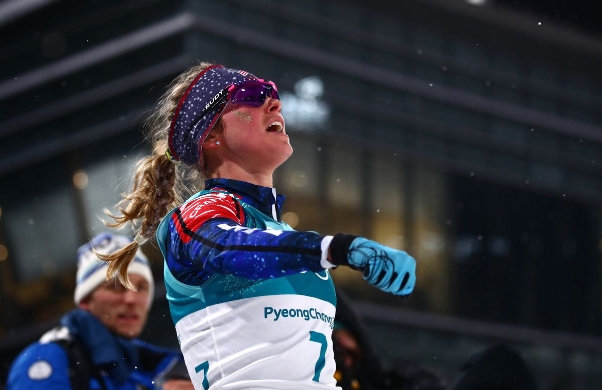Jessie Diggins led the Americans in Tuesday's classic sprint by placing sixth, about eight seconds out of the medals. (Carlos Barria / Reuters)