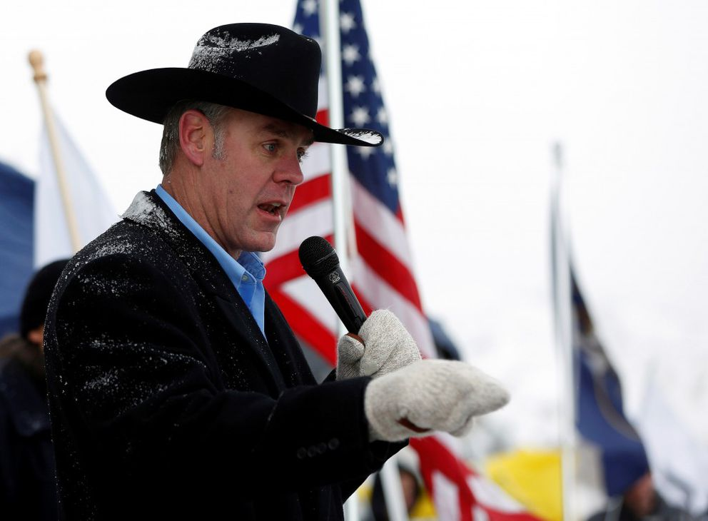Then-Montana state Sen. Ryan Zinke addresses a pro-gun rally as part of the National Day of Resistance, at the Utah Capitol in Salt Lake City Feb. 23, 2013. (Jim Urquhart / Reuters file)