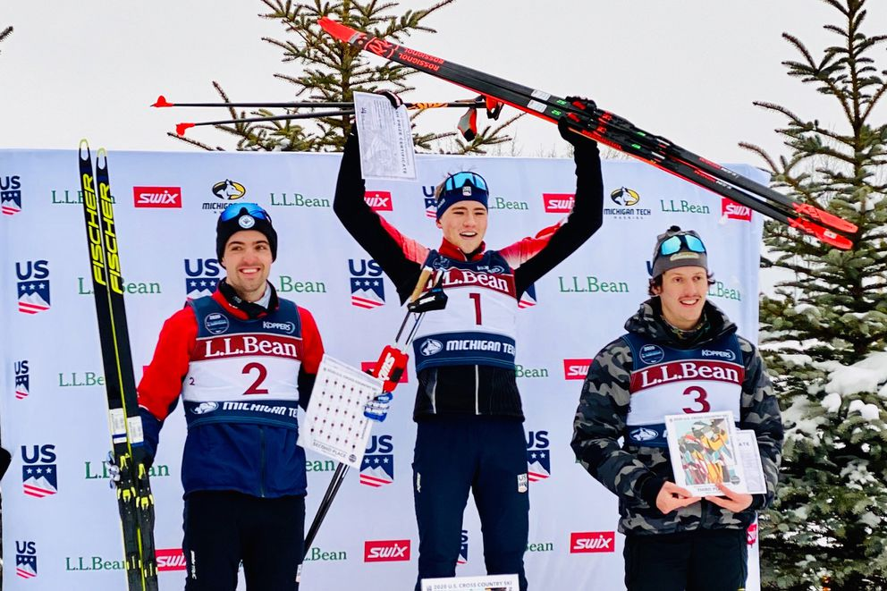 Anchorage's Gus Schumacher stands on top of the podium Thursday at the national cross-country ski championships in Houghton, Michigan. (Photo by Amy Schumacher)