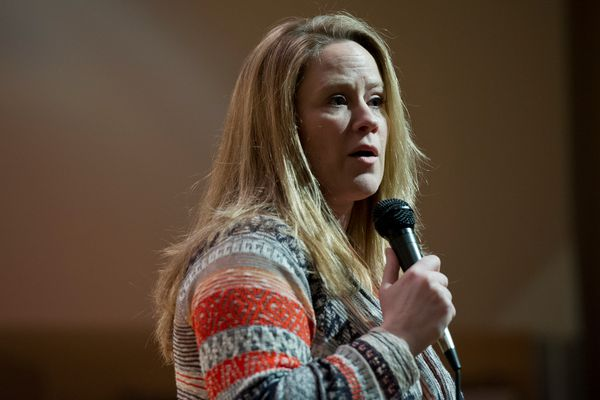 Candidate Amy Demboski. The Anchorage Board of Realtors hosted a mayoral debate between candidates Amy Demboski and Ethan Berkowitz on Wednesday, April 29, 2015, at the Loussac Library. (Marc Lester / Alaska Dispatch News)