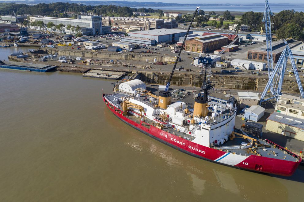 The 399-foot US Coast Guard cutter Polar Star is docked at Mare Island Dry Dock where the heavy ice breaker from Seattle will undergo repairs and refurbishment on April 23, 2019. (Brian van der Brug / Los Angeles Times/TNS)