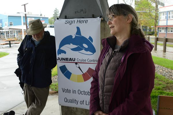 Karla Hart of Juneau Cruise Control talks to reporters outside Juneau City Hall on Wednesday, June 2, 2021. The group failed to put three cruise-ship-limiting measures on the local ballot. (James Brooks / ADN)