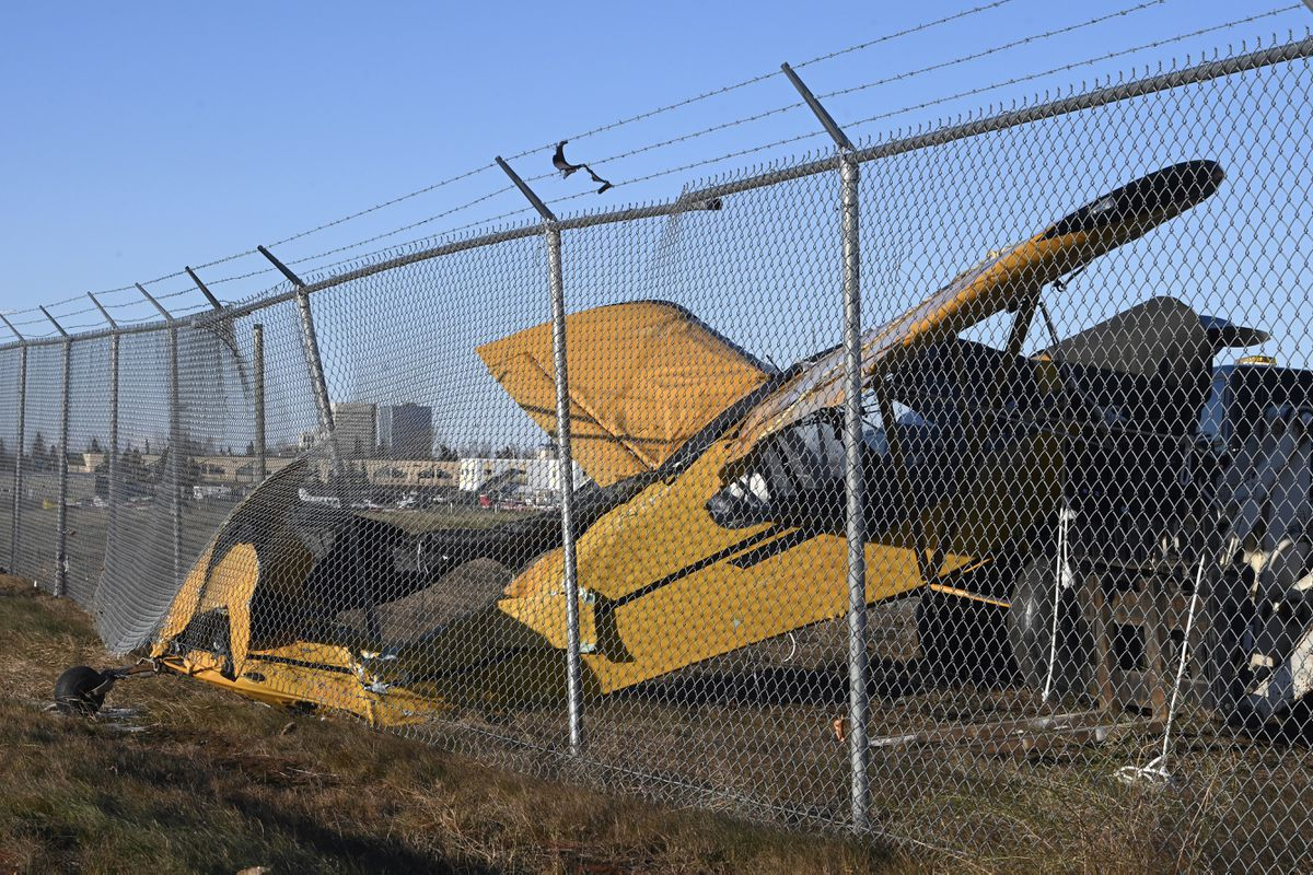 A Piper Super Cub broke free from its tie down at the gravel/ski strip at Merrill Field Airport during the windstorm, Nov. 2, 2020.(Bill Roth / ADN)