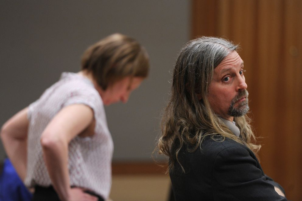 Defense attorney Emily Cooper, left, and prosecutor James Fayette during the Thomas Skeek murder trial on Tuesday. Skeek is charged with killing his wife three years ago. The body of Linda Skeek, 32, has not been found. (Bill Roth / ADN)