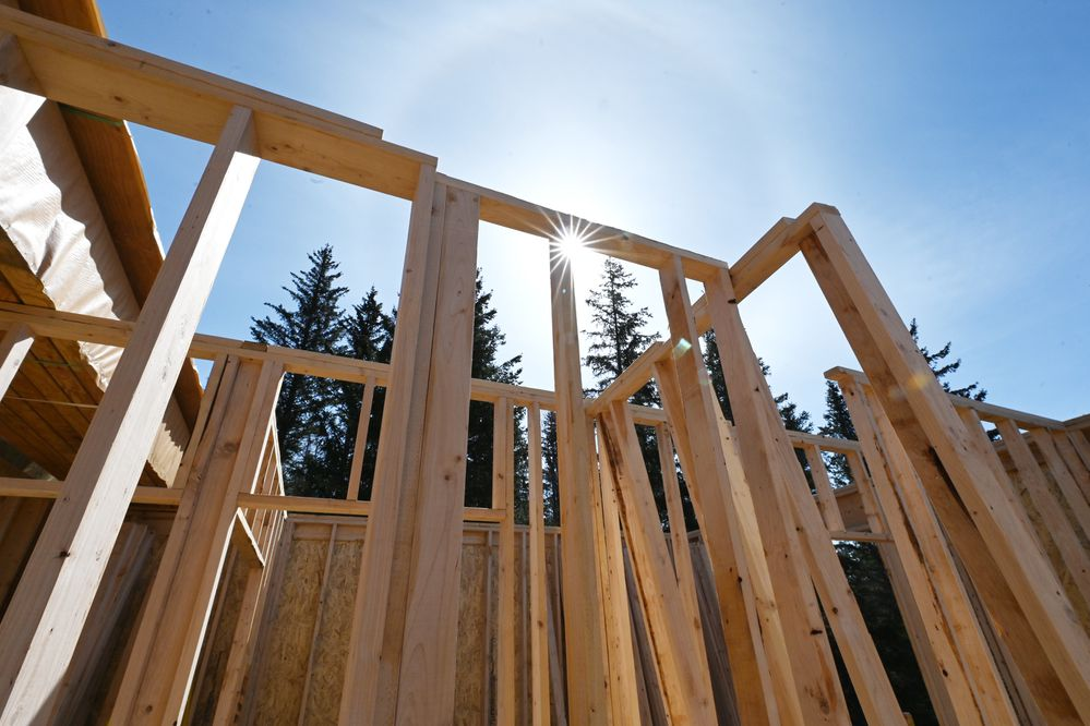 A single family home under construction in Potter Highlands on Tuesday, April 27, 2021. Lumber and building materials have skyrocketed during the pandemic. (Bill Roth / ADN)