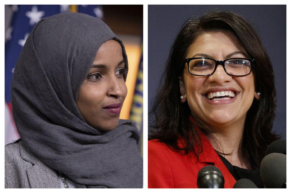 Reps.-elect Ilhan Omar, D-Minn., left, and Rashida Tlaib, D-Mich. (AP Photo/Carolyn Kaster, File)