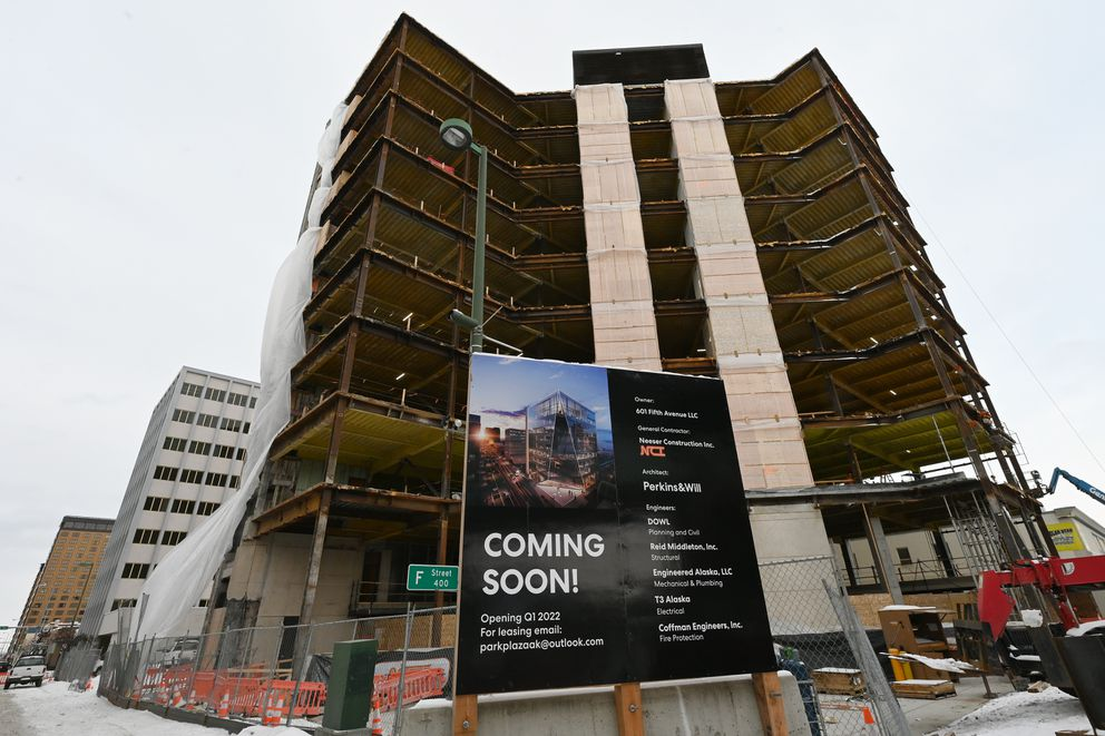 Renovation of the former Key Bank Plaza building at 601 Fifth Avenue continues on Thursday, Feb. 11, 2021. The commercial office building is expected to be completed in 2022. (Bill Roth / ADN)