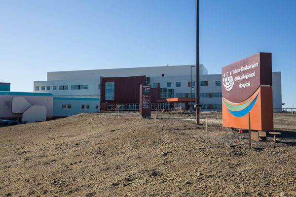 The new Yukon-Kuskokwim Delta Regional Hospital, still under construction on June 27, 2019. (Loren Holmes / ADN)
