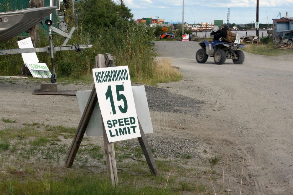 Speed limit signs are showing up everywhere in Bethel, but the city is not behind them. (Lisa Demer / Alaska Dispatch News)