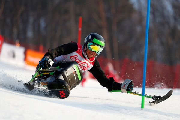 Palmer's Andrew Kurka competes in the men's sitting super combined slalom Tuesday, March 13, 2018, during the 2018 Winter Paralympics in Jeongseon, South Korea.