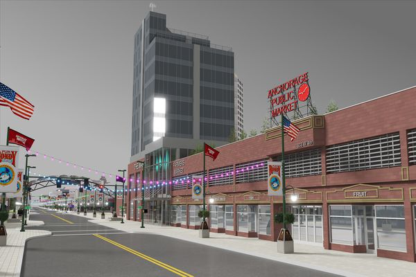 The Anchorage Downtown Partnership has ideas in 2018 for how to develop the Sunshine Plaza. (Artist rendering by Resolution 3D / Anchorage Downtown Partnership)