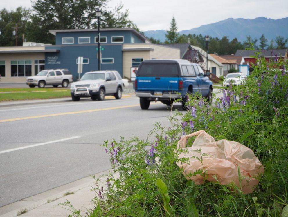 A plastic bag is caught along South Alaska Street in Palmer. (Marc Lester / Alaska Dispatch News)