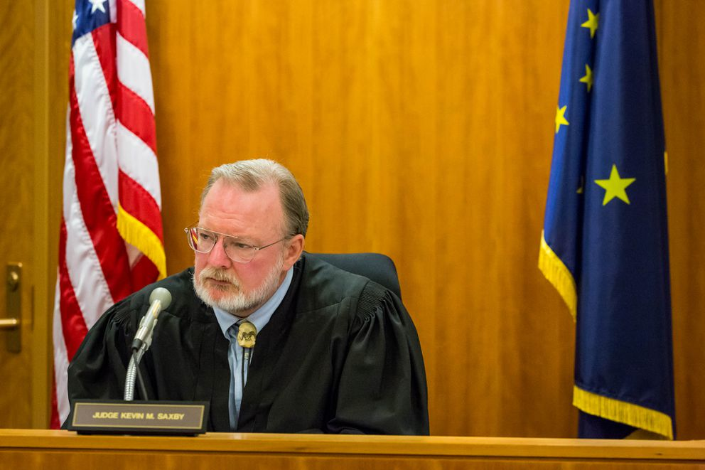 Judge Kevin Saxby listens to victim statements during a sentencing hearing for Stacey Allen Graham on Friday, February 6, 2015 in an Anchorage courtroom. (Loren Holmes / ADN)