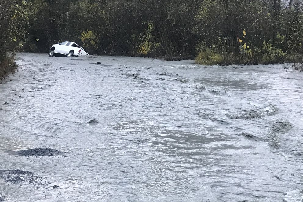 Bruno Road in Seward is flooded by a nearby creek on Tuesday, Oct. 16 2018. (Photo by Nicole Lawrence)