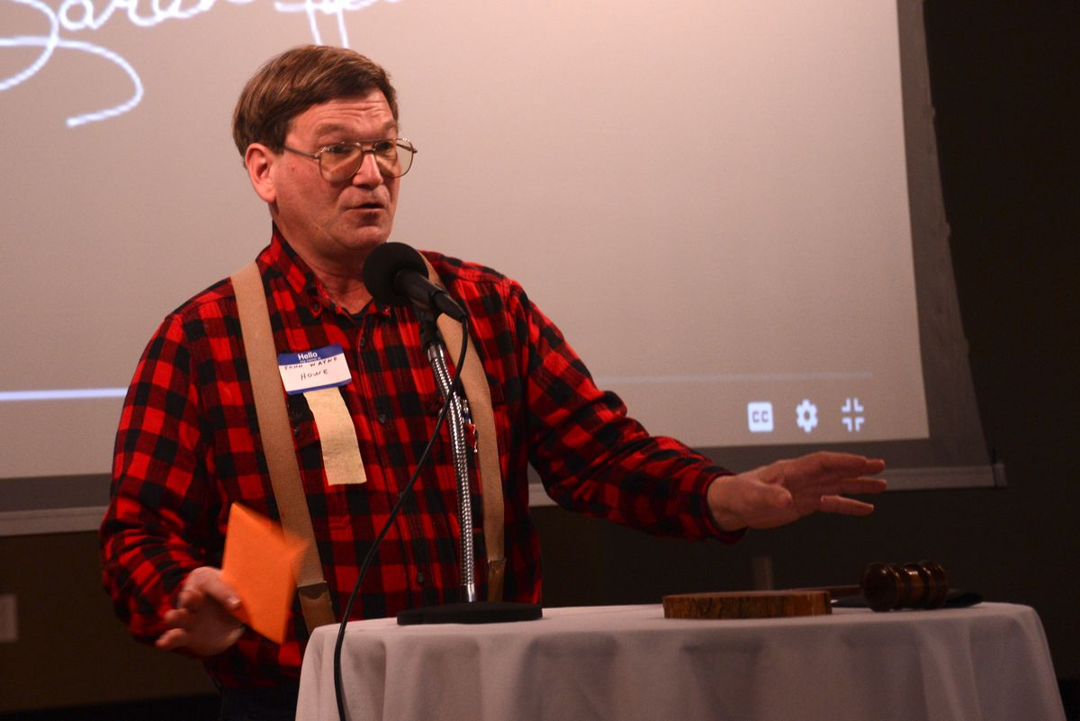 John Wayne Howe, the Alaskan Independence Party candidate for U.S. Senate, speaks at the party's convention on Oct. 17, 2020 at Mat-Su Resort in Wasilla. (James Brooks / ADN)