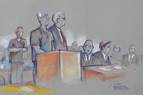 In this courtroom sketch Roger Stone, left, a confidant of President Donald Trump, attends a federal court hearing, Friday, Jan. 25, 2019, in Fort Lauderdale, Fla. Stone was arrested Friday in the special counsel's Russia investigation and was charged with lying to Congress and obstructing the probe. (Daniel Pontet via AP)