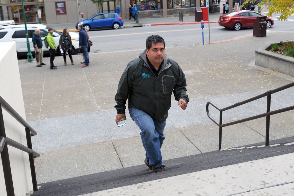 Jason Evans arrives for a hearing in the Alaska Dispatch News bankruptcy case on Monday morning at the Old Federal Building downtown. (Erik Hill / Alaska Dispatch News)