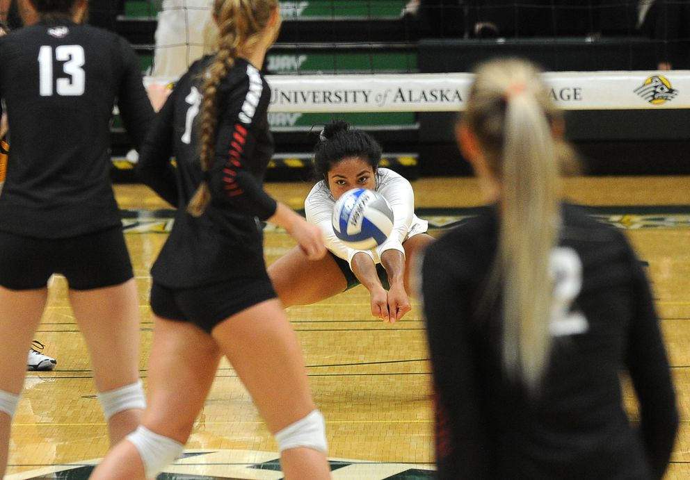 Taylor Noga's digkeeps the ball in play for the Seawolves. (Bob Hallinen / ADN)