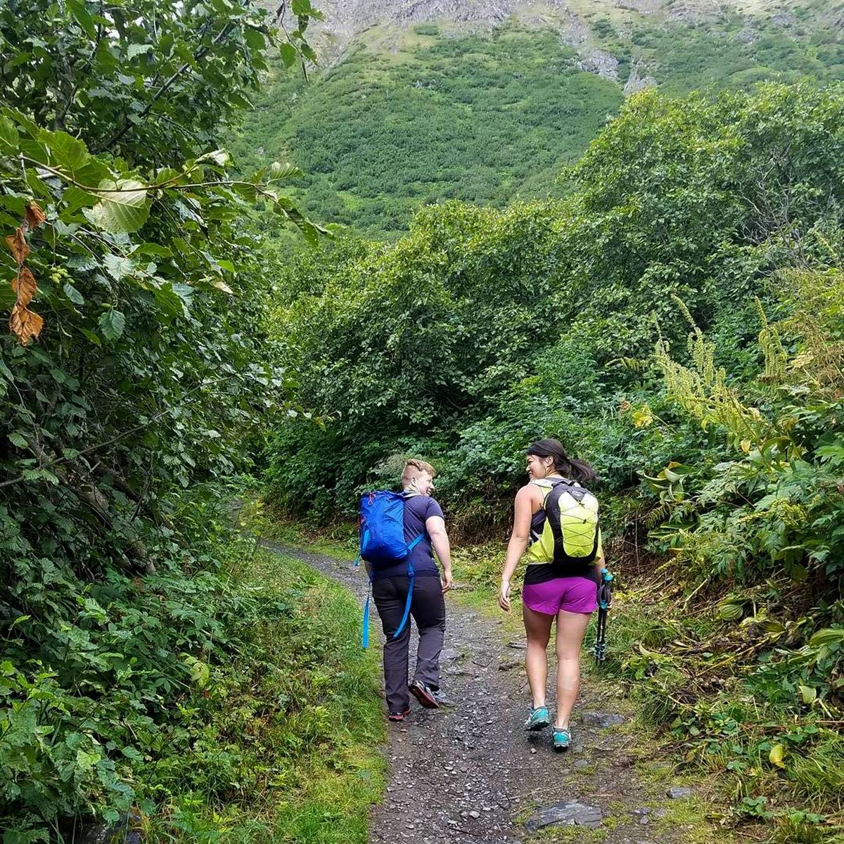 Toni Clark, left, and I started from Girdwood on the Crow Pass trail early Thursday, July 28, 2016, heading toward the Eagle River Nature Center. This was before I tried to bring her down with me while crossing the Eagle River. (Julia Terry)